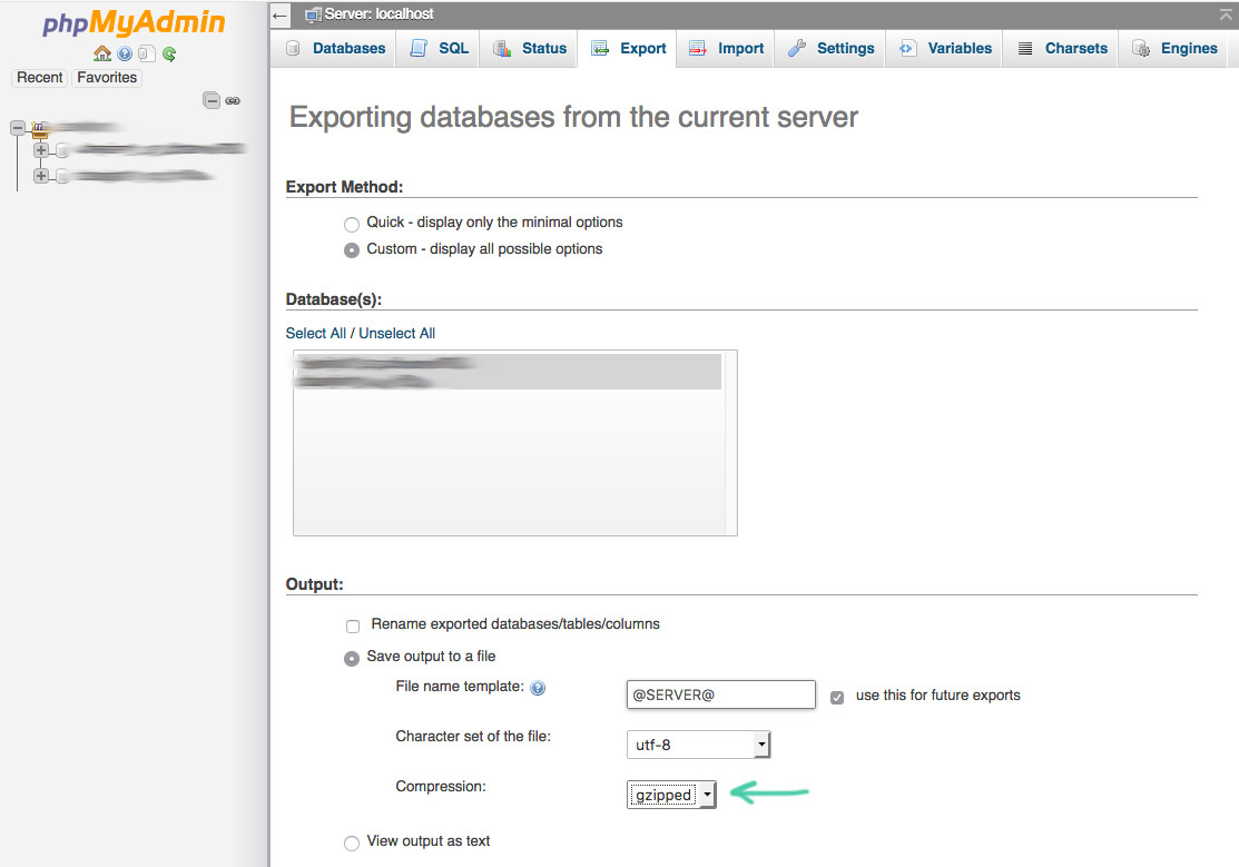 how to manually backup databases using phpmyadmin